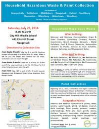 Household Hazardous Waste and Paint Collection Day Saturday